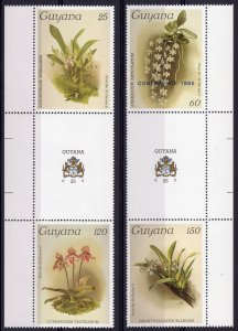 Guyana 1985  ORCHIDS Set of 4 values perforated MNH