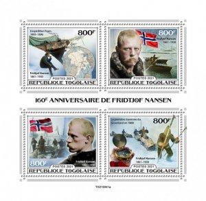 TOGO - 2021 - Fridtjof Nansen - Perf 4v Sheet - Mint Never Hinged