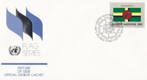 UN42) United Nations 1982 Dominica 20c Stamp - Flag Series FDC. Price: $4.00