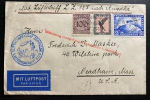 1929 Germany Graf Zeppelin LZ 127 Airmail Cover to Neadham MA USA Sc#C36
