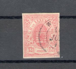 1859 Luxembourg - N° 7 - 12 1/2c. Rosa, Used Vinyl Decals/Sign Albe