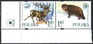 Poland. 1999. 3787-88. Fauna of Poland, deer and wild cat. MNH.