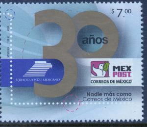 MEXICO 3016, $7.00P MEXICAN POSTAL SERVICE 30th ANNIV..MNH