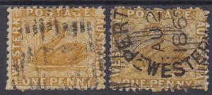 WESTERN AUSTRALIA 1864 SWAN 1D BOTH SHADES WMK CROWN CC PERF 12.5 USED