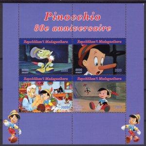 Malagasy Republic 2020 PINOCCHIO  80th.Anniversary-DISNEY Sheetlet (4)  MNH