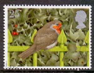 Great Britain 1995 used Christmas 25p robin  holly   #