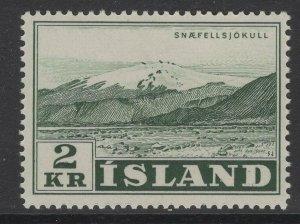 ICELAND SG346 1957 2k DEEP DULL GREEN MNH