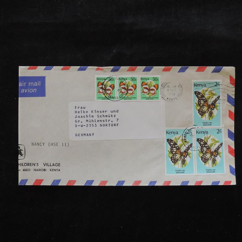 ZS-W287 BUTTERFLIES - Kenya, Great Franking Airmail To Germany Cover