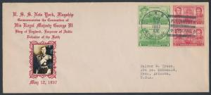 #790-791 U.S.S. NEW YORK FLAGSHIP ON CROSBY CACHET FDC MAY 12,1937 BR2540