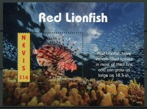 Nevis 2019 MNH Red Lionfish 1v S/S Coral Fish Fishes Marine Stamps