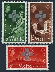 Malta 263-265 blocks/4,MNH.Michel 254-256. George Cross issue 1957.