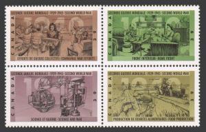 Canada 1298-1301a block,MNH.Mi 1206-1209. WW II events,1990.Science and war.