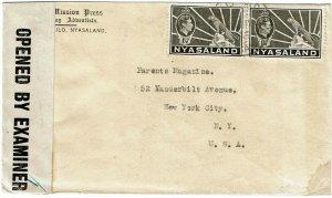 Nyasaland 1943 Malamoyo cancel on cover to the U.S., censored