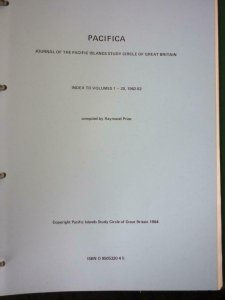 PACIFICA INDEX TO VOLUMES 1-20 1962-82 - JOURNAL OF PACIFIC ISLANDS STUDY CIRCLE