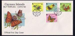 Cayman Is., Scott cat. 624-627. Butterflies issue. First Day Cover.