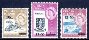 VIRGIN ISLANDS — SCOTT 173-175 — 1966 QEII SURCHARGE SET — MNH — SCV $10.00