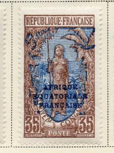 Middle Congo 1924 Early Issue Fine Mint Hinged 35c. Optd 324732