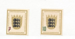 Germany, 729-30, Arms of Baden-Wurttemburg, Singles, VLH