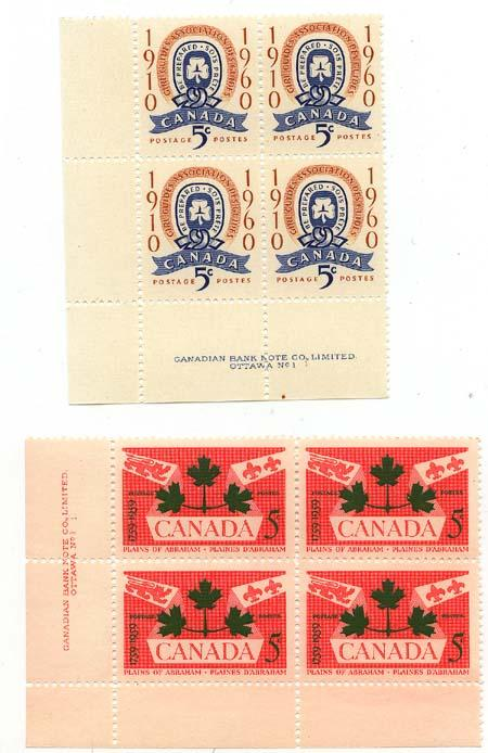 Canada - 1959/60 Pl. of Abraham & Girl Guides Blocks mint