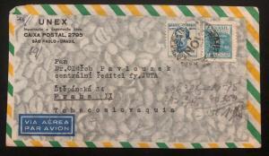 1946 Sao Pablo Brazil Airmail Commercial Cover To Prague Czechoslovakia