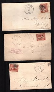 US  210  used  3 diff covers fancy cancels