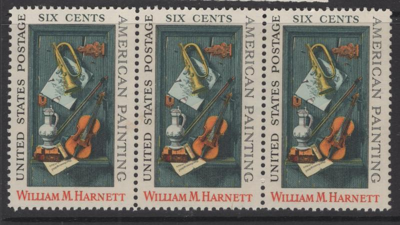 US 1969 William M Harnett Painting Strip of 3 6c Stamp Scott 1386 MNH
