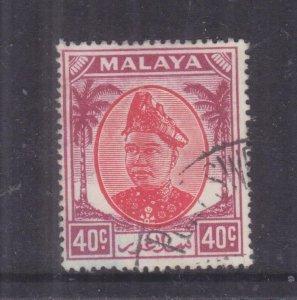 SELANGOR, MALAYA, 1949 Sultan, 40c. Scarlet & Purple, used.