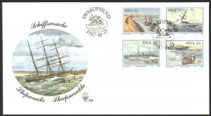 South West Africa Sc# 590-593 SG# 483/6 FDC 1987 Shipwrecks