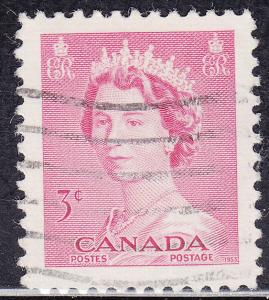 Canada 327 USED 1953 Queen Elizabeth II, Karsh Portrait 3¢