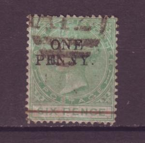 J16005 JLstamps 1884 st christopher used #18 ovpt queen avg