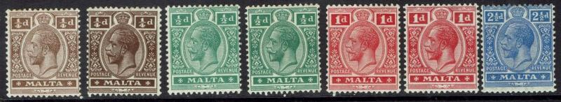 MALTA 1914 KGV RANGE TO 21/2D WMK MULTI CROWN CA PLUS SHADES
