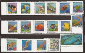 Marshall Islands - 1988-9 Fish - 17 Stamp Set - 13P-075