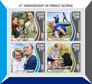 Sierra Leone - 2017 Prince George - 4 Stamp Sheet - SRL17805a