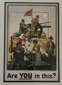 JE53) Jersey 2014 WWI Centenary Part 1 set of 6 & Sheetlet & M/S MUH