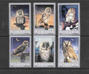 BIRDS - ROMANIA #4579-84-OWLS  MNH