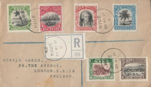 Niue 1921 KGV Registered Cover with 1920 Definitives to England VF