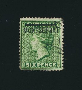 MONSERRAT 1876, 6d S INVERTED VAR VF USED SG#2b CAT£1200 (SEE BELOW)