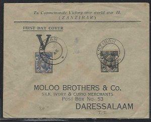 ZANZIBAR  (PP2608B)  1946 COVER  PEACE  SET  CACHETED FDC TO DAR ES SALAAM
