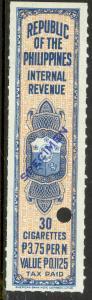 PHILIPPINES c1950 TAX PAID CIGARETTES REVENUE Blue Specimen 30 at 3.75p Per M