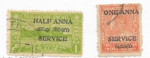 India- Travancore-Cochin #O18-O19  (U) CV $2.05