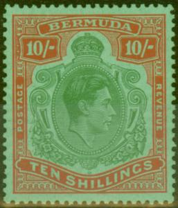 Bermuda 1953 10s Green & Dull Red-Yellow SG119 Fine Lightly Mtd Mint