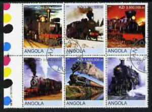 Angola USED Block Of 6 Steam Locomotives 2000