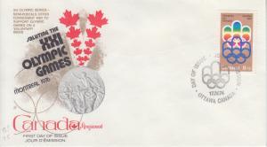 1974 Canada Logo of 1976 Olympic Games SP (3) (Scott B1-B3) Kingswood FDC