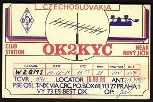 QSL QSO RADIO CARD OK2KYC,Near Novy Jicin,1989,Czechoslovakia, (Q2187)