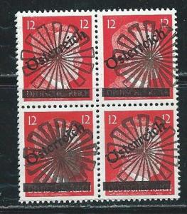 Austria 393 With Post War Local Overprint BLOCK of 4 MNH
