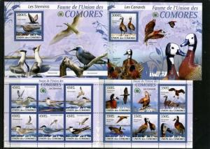 COMORO ISLANDS 2009 BIRDS 2 SHEETS OF 5 STAMPS & 2 S/S MNH