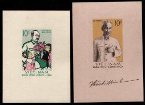 North Viet Nam Scott 129-130 Ho Chi Minh souvenir sheet set NGAI
