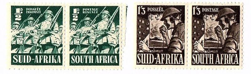 SOUTH AFRICA 1941-43 Scott 81 & 89 mnh pairs - scv $14.50 BIN $7.25