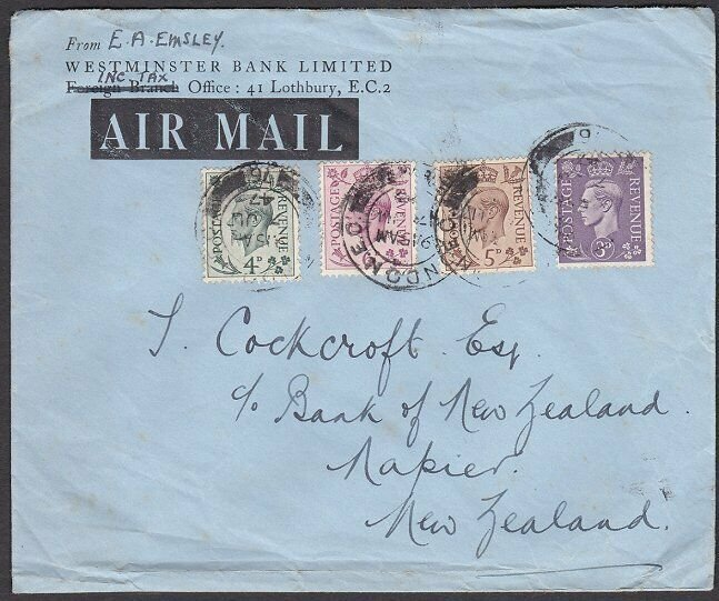 GB 1947 1/2d rate airmail cover London to New Zealand.......................L379