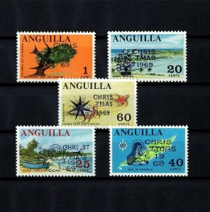 ANGUILLA - 1969 - CHRISTMAS - OVPT - ANGEL - MADONNA & CHILD + MINT NH SET!